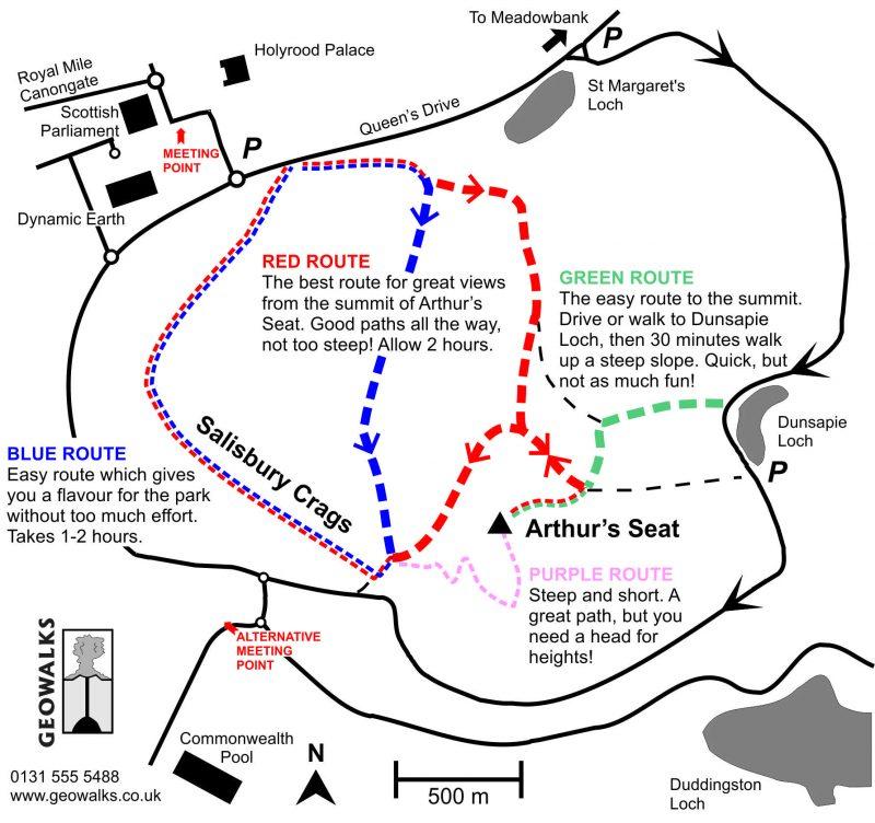 Arthur's Seat Mappa percorsi